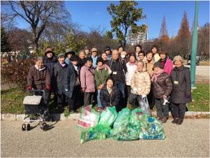 公園の散策と清掃